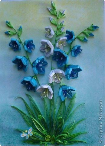 Картина, панно, рисунок Квиллинг: Колокольчики мои, цветики степные... Бумажные полосы День матери, День рождения, День учителя. Фото 6