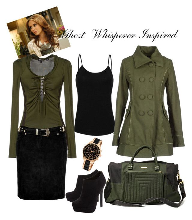 Olive green and black ~ Ghost Whisperer inspired outfit by the-spotless-housewife on Polyvore featuring Just Cavalli, MANGO, Balmain, Head Over Heels by Dune and Friis & Company