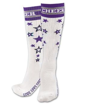 Chassé™ Knee High Stars and Stripe Cheer Socks | Chassé Cheerleading Apparel