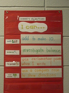 weekly objectives by subject chart- I LOVE I Can statements, I think