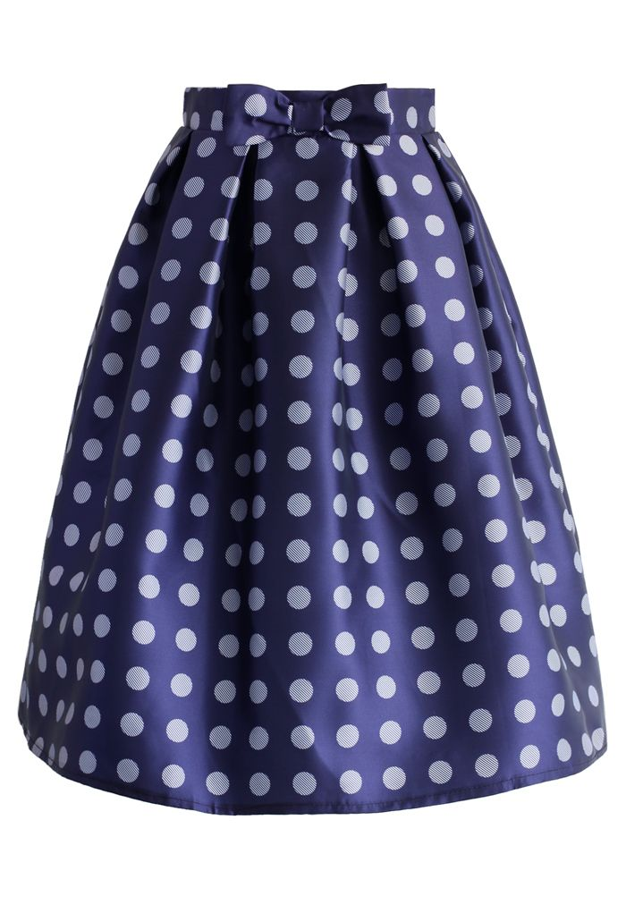 Playful Bow and Dots Midi Skirt - New Arrivals - Retro, Indie and Unique Fashion