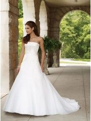 Organza Strapless A-line Wedding Dress