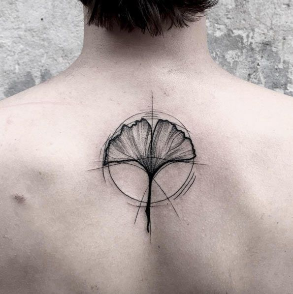 Sketch Style Flower Tattoo on Back by Frank Carrilho | 40 Fascinating Sketch Style Tattoos | TattooBlend