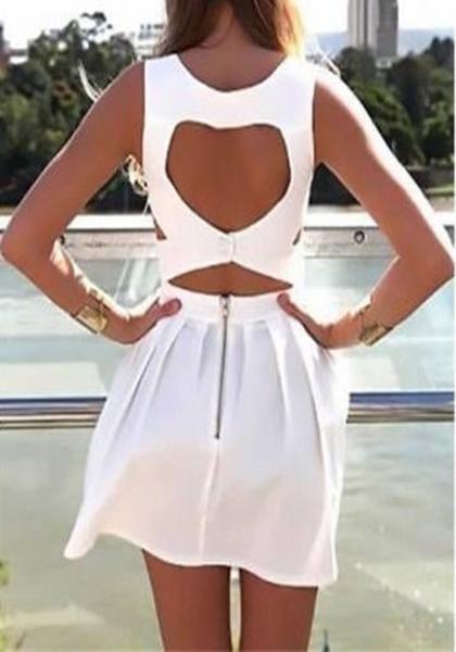 New Women White Plain Pleated Cut Out V-neck Mini Dress