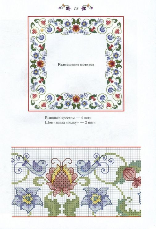 Cross-stitch Floral & Bluebirds Tablecloth Pattern, part 3... color chart on part 2... Gallery.ru / Фото #16 - 25 - kento