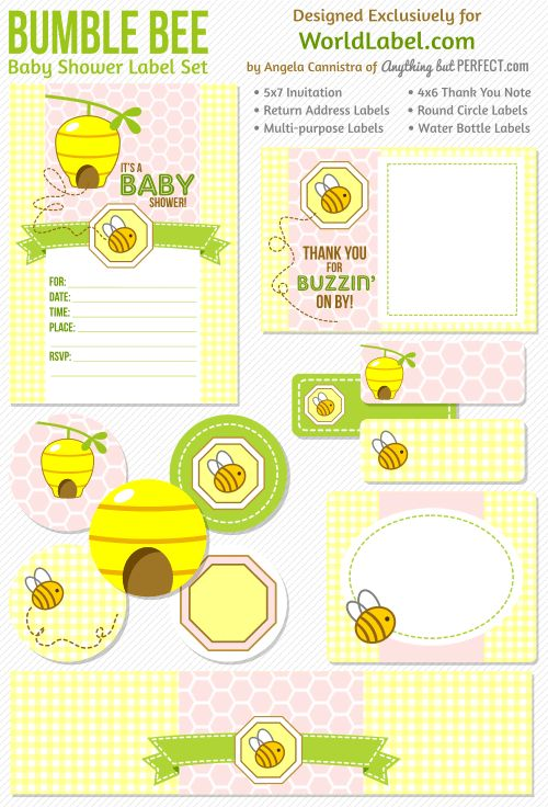 FREE download: Bumble Bee Baby Shower Label set, really really cute in pink, blue set to follow. Designed by anythingbutperfect.com Download at blog.worldlabel.com