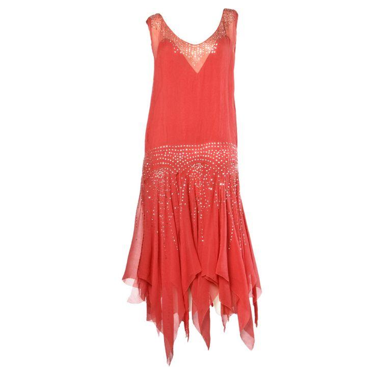 Vintage 1920s Deco Coral Sheer 3-Layer Silk Drop-Waist Rhinestone Flapper Dress | 1stdibs.com