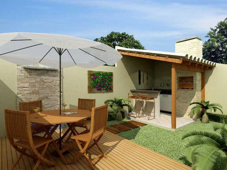 Quintal. http://decorandocasas.com.br  Área externa nos fundos com churrasqueira
