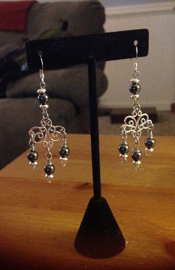 Sterling Silver Pearl Chandelier Earrings-Swarvoski by Hopelisa