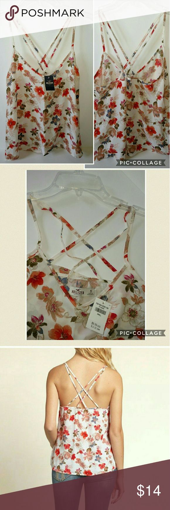 Nwt! Hollister floral must have strappy tank small Cute Hollister must have tank! Strappy in back. Size small runs tts for a cute flowy look. May fit a med but less flowy, also material does not stretch.   ?? ships in 1 day Reasonable offers &?welcome Clean smoke free home  No trades Hollister Tops Tank Tops