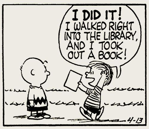 Yeah! The Peanuts Gang is reading @ the library!