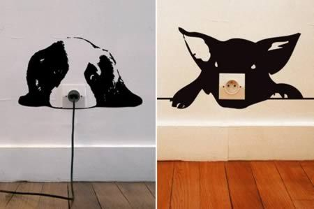 These creative wall stickers are good to give a humorous look around the wall sockets. Designed by artist Adrien Gardère, these stickers give different impressions to regular sockets and make them more amusing
