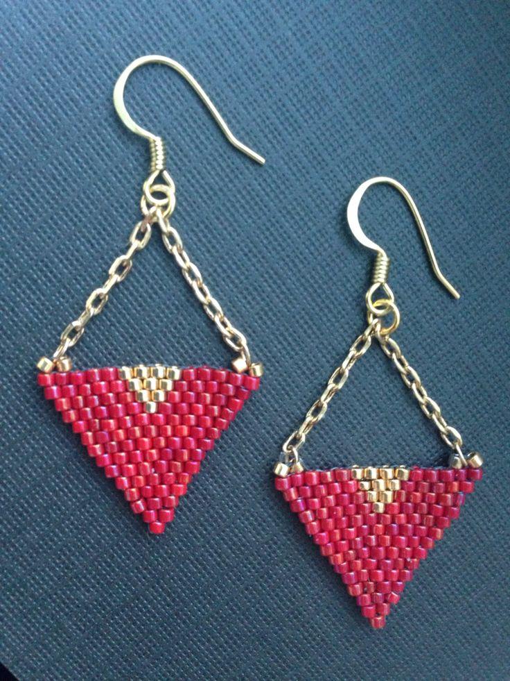 Deep red chandelier earrings featuring Delica seedbeads