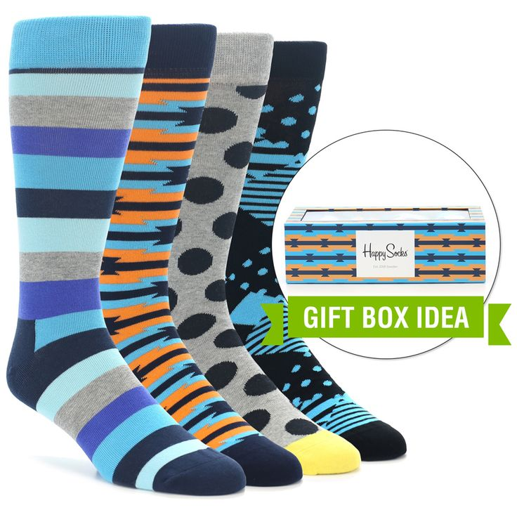 Sock gift boxes are an easy, convenient option for men that like to live and dress boldly. This Happy Socks gift box provides 4 awesome pairs of socks in one sturdy, slick box. Shop this box and others.
