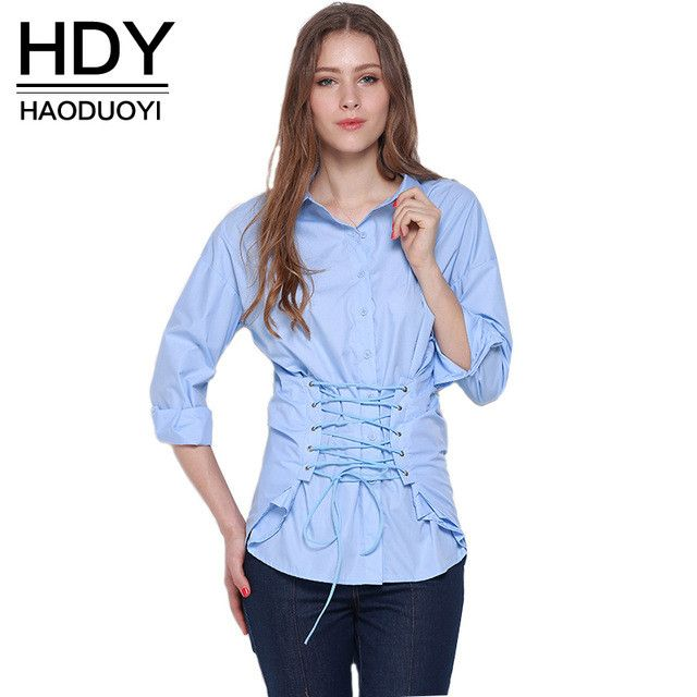HDY Haoduoyi 2017 Autumn Blouses & Shirts Women Loose Long Sleeve Blouse Lace Up Single Breasted Shirt Turn Down Collar Tops