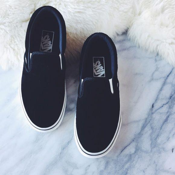 2c7e1545c17 Vans Black Suede Slip Ons •Black pig suede Vans slip ons. Pre-treated
