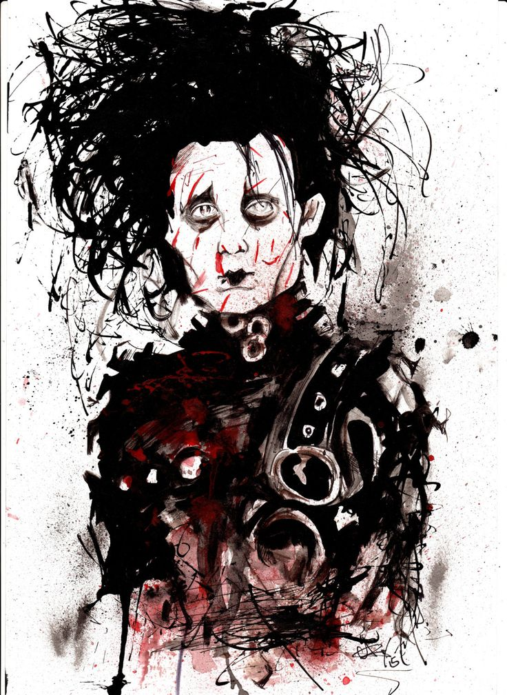 Edward Scissorhands A4 sized Pen and ink original drawing by GaryAlfordArt on Etsy