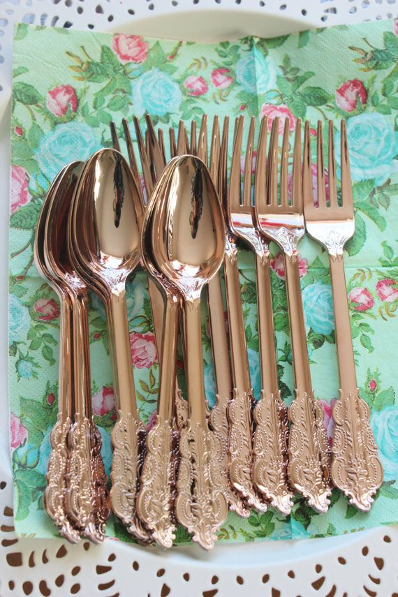 300 ASSORTED FAUX COPPER Cutlery Plastic Forks Spoons Knives Tableware Rose Gold Vintage Style Wedding Shower Tea Party Shabby Chic Floral