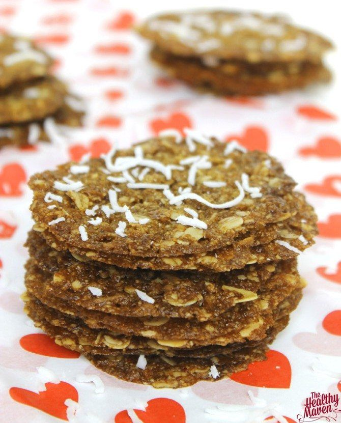 The Healthy Maven's sweet, crunchy coconut oatmeal lace cookies are made using only simple ingredients such as rolled oats and unsweetened coconut flakes. Turn this sweet treat into a quick nutritious breakfast by crumbling it on top of nonfat, plain Greek yogurt served with a side of fresh fruit. Davida is a healthy living blogger behind The Healthy …