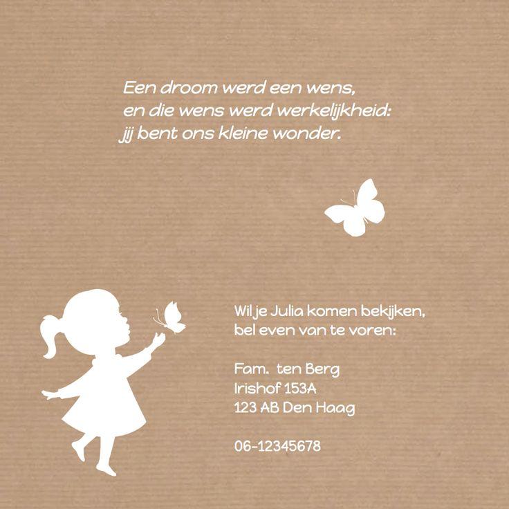 Geboorte Meisje Silhouet Vlinder - Geboortekaartjes - Kaartje2go