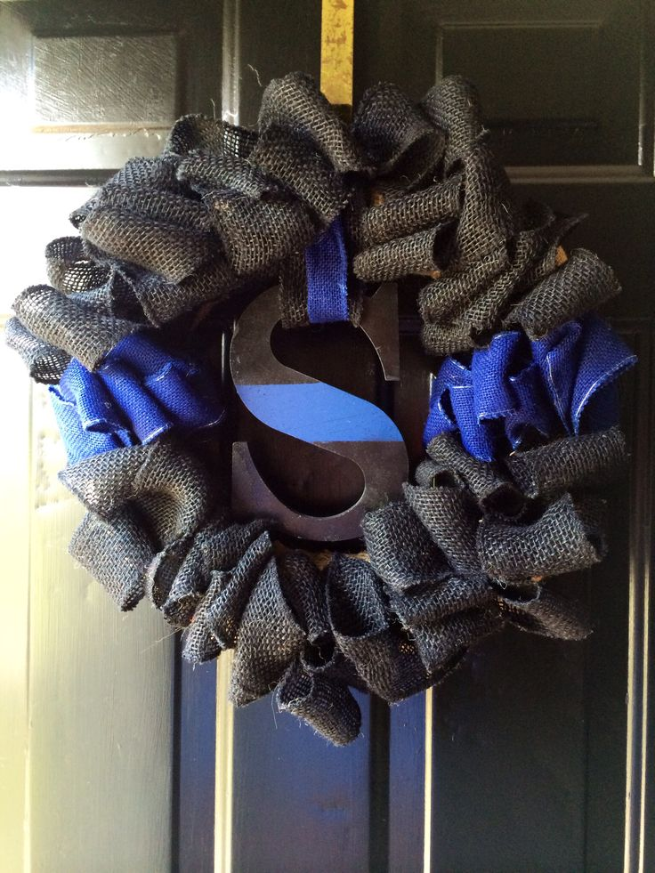 Thin blue line wreath I made for our new house