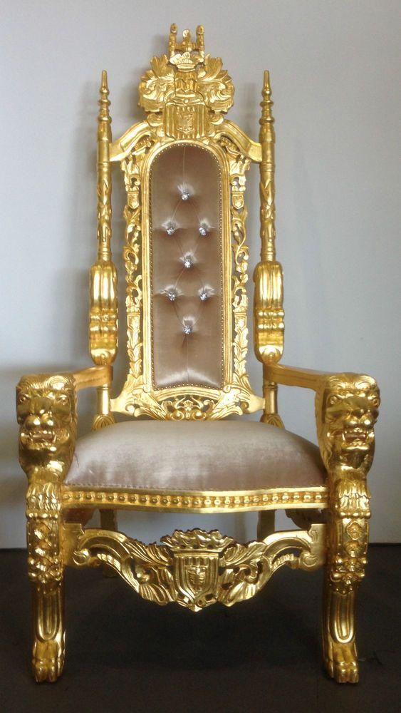Beige velvet on gold leaf finish lion head king chair