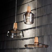 Design Modern Table Light Round Glass Clear Smoke Timber Wooden Lighting