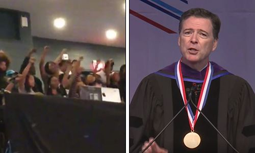 'Get out Comey, you're not our homey!' Former FBI chief didn't get the college reception he probably hoped for