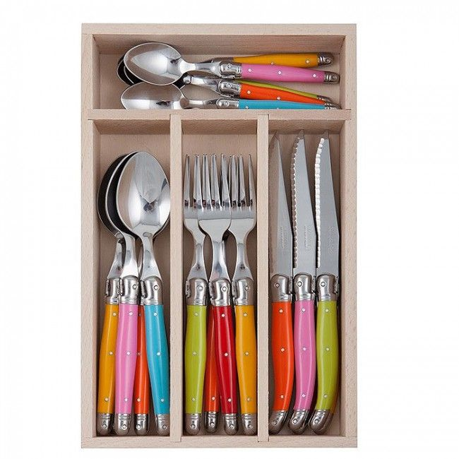 Andre Verdier Laguiole Debutant Cutlery Set 24 Piece Multicoloured Spring