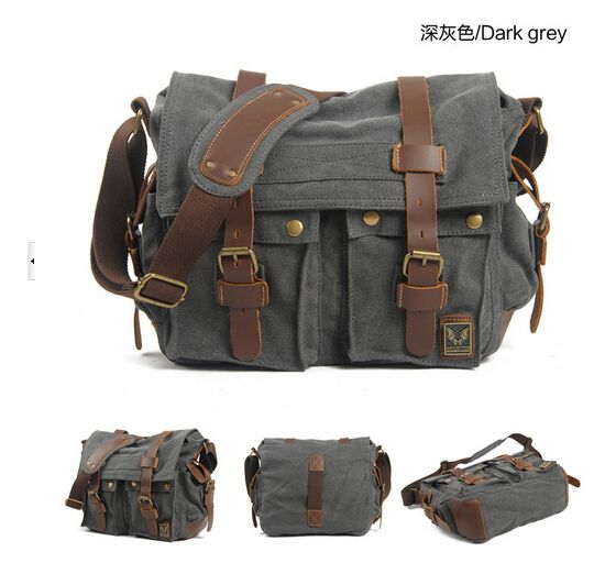 ... New Fashion Vintage Waterproof DSLR Video Camera Bag Canvas + Leather Messenger Shoulder Photo Bags For ...