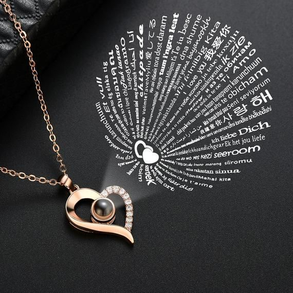 Stunning 100 Languages Of Love Projection Necklace Secret Etsy Love Necklace Heart Shaped Necklace Necklace