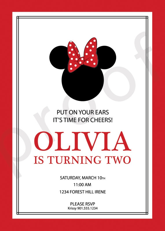 Minnie Mouse Birthday Invitation  Custom DIY by TrendyHenry, $12.00: Mickey Mouse Birthday, Birthday Parties, Birthday Invitations, 1St Birthday, Custom Diy, Parties Ideas, 3Rd Birthday, 2Nd Birthday, Birthday Ideas