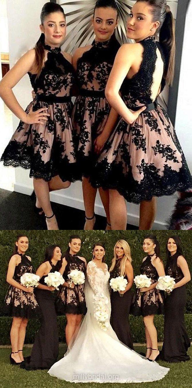 Short Bridesmaid Dresses Lace, Open Back Bridesmaid Dress A-line, Black Wedding Party Dresses Modest