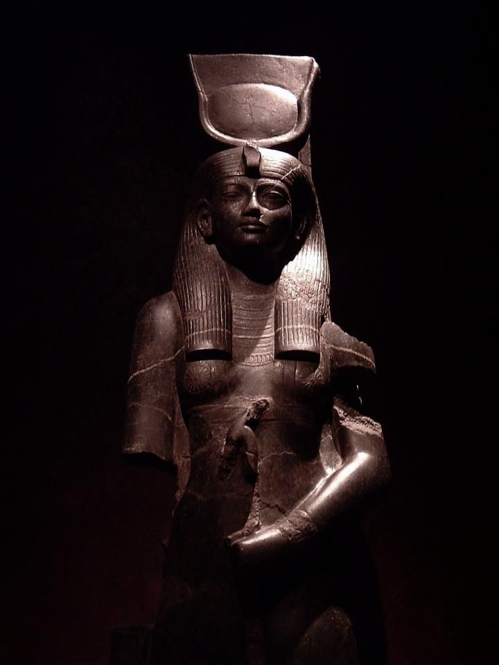 Basalt statue of the Goddess Hathor holding the Uas-scepter of Power and Dominion: the statue was commissioned by King Amenhotep III to celebrate His Sed Festival; now in the Egyptian Museum of Torino