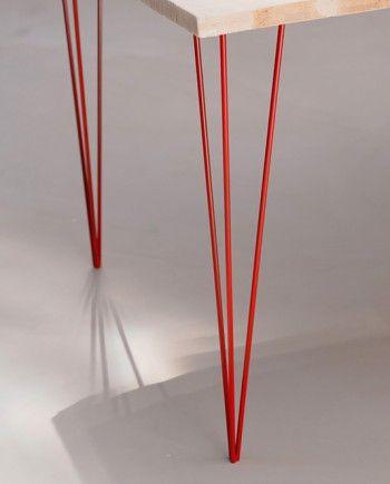 pied de table basse rouge design loft