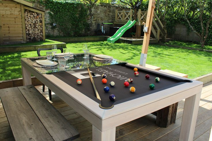 Outdoor Pool Table - Shown as a 7' English Pool Table with a glass top in colour #33 (bleached Oak).