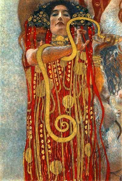 Hygeia 1898 (medicine woman) by Gustav Klimt... the original painting was destroyed in 1945 at the Immendorf Palace fire (Germany)