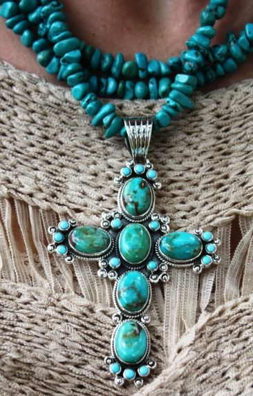 Turquoise+crosses | ... Up Glamour > Dan Dodson Jewelry Genuine Green Turquoise Cross Pendent WANT!