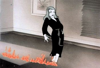 """From a 1946 Warner Brother's Merrie Melodies cartoon parody, spoofing one of its own 1944 releases, the Howard Hawks classic noir """"To Have and Have Not"""" (a fantastic movie, by the way, and very sexy) within which Lauren Bacall and Humphrey Bogart burn up the screen. The cartoon is entitled """"Bacall to Arms."""" And here, the Bacall cartoon counter-part struts across the room toward Bogey in a vamp tease."""