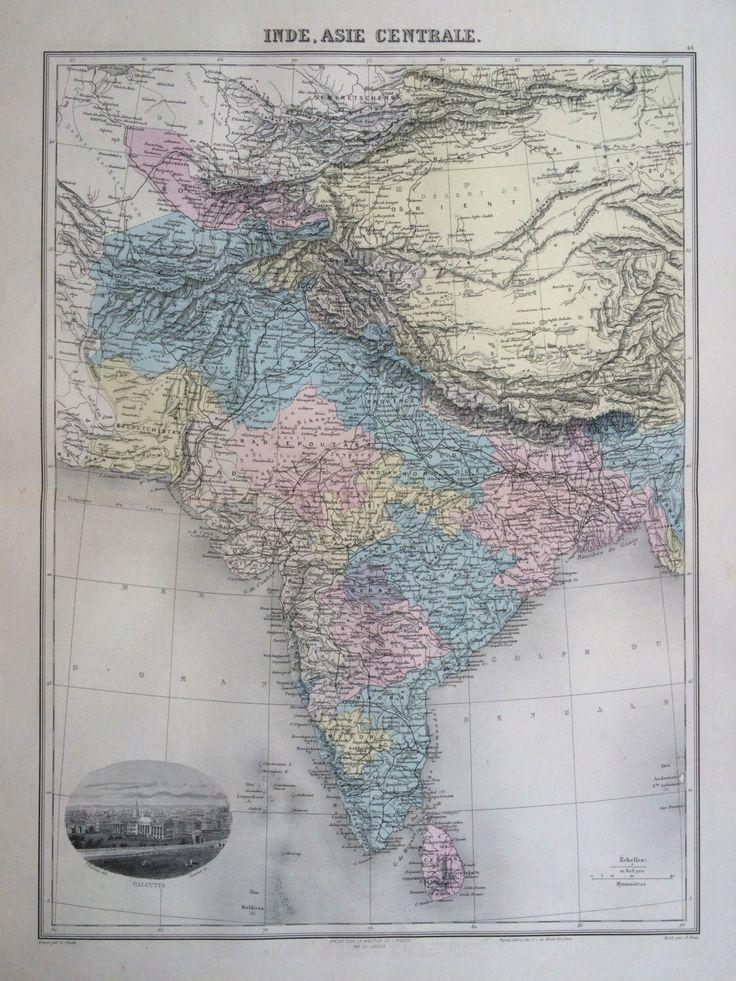 1892 INDIA original antique map Nouvel Atlas
