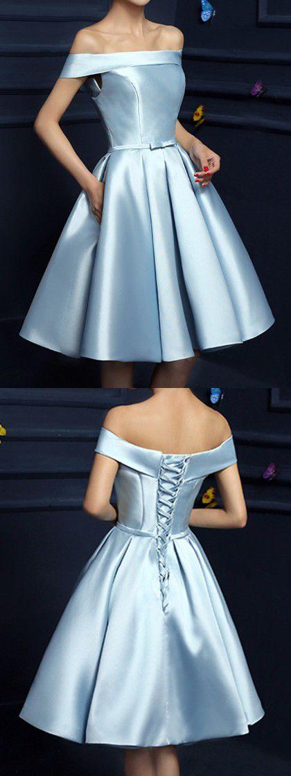 Light Blue Off Shoulder Bow Waist Homecoming Bandeau Dress