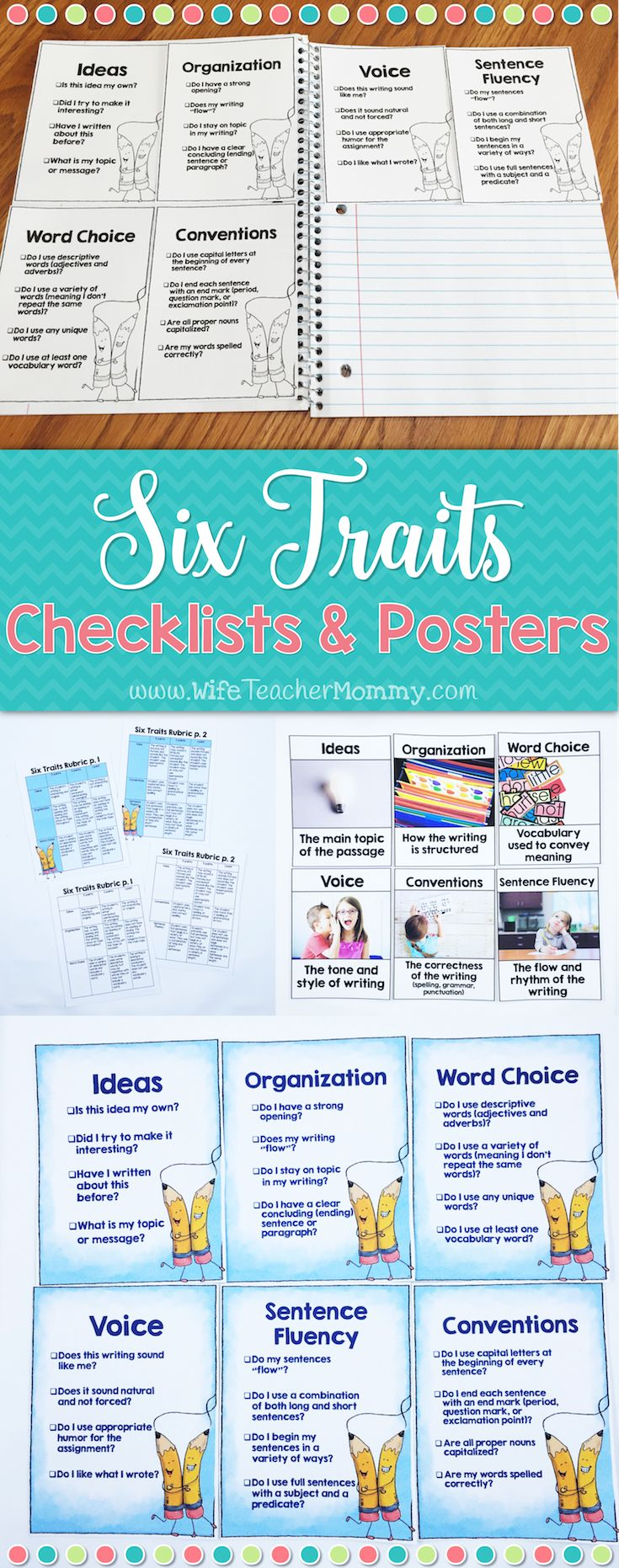 Help your students assess their own writing using the six traits checklists and 6 traits posters! Perfect for writing notebooks and writer's workshop. A checklist is included for each trait with 4 questions for the students to answer about their writing. They are perfect for students to tape into their writing notebooks and use every time they write! Fun colorful AND ink-saving black and white checklists included!   Page sized posters with REAL PICTURES are also included for each of the six…