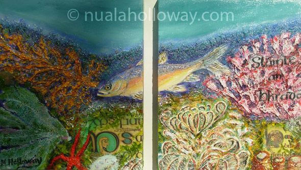 """Treasures Of The Deep"" by Nuala Holloway - Oil & Sand on Canvas - Part of Nuala's ""Coral Collection"" bringing attention to the beauty of this important and endangered Oceanic eco-system www.nualaholloway.com #Coral #NualaHolloway #IrishArt"