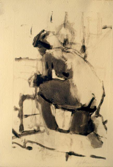 """Frank Hobbs, """"Kneeling Figure,"""" monotype, 11 x 9 in."""