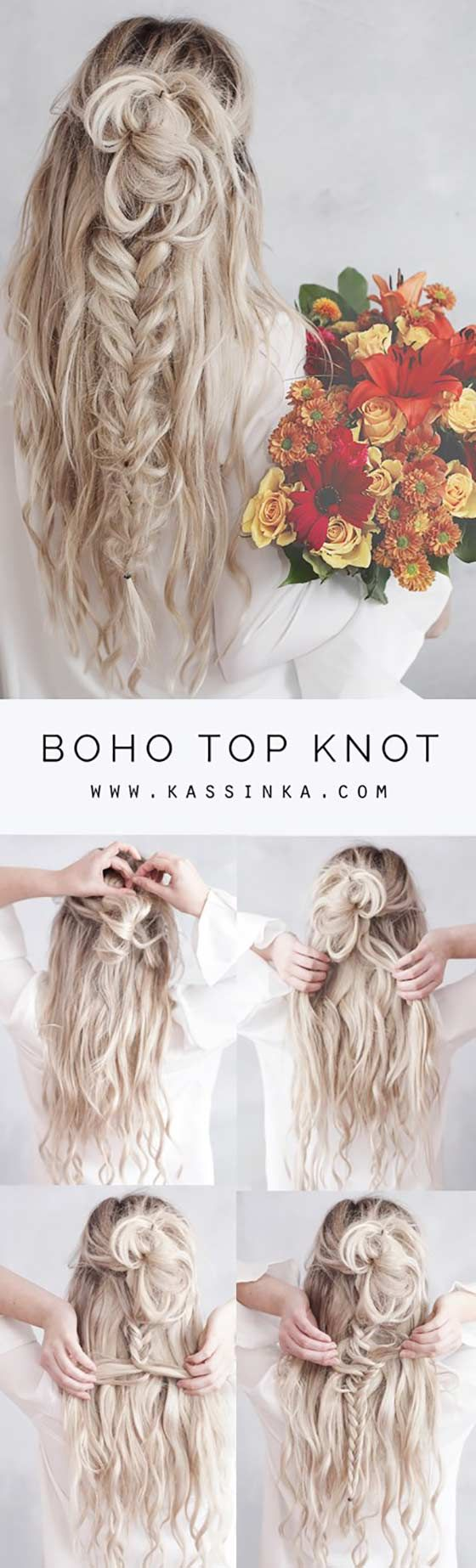 40 Braided Hairstyles For Long Hair | Love this boho top knot with a braid!