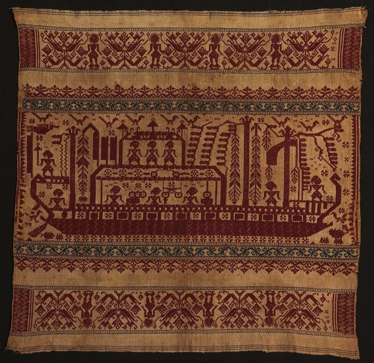 Paminggir people Indonesia, South Sumatra, Lampung area, Lampung Bay Ceremonial Cloth (tampan), Mid-19th century Cotton, plain weave with supplementary patterning wefts 70.3 x 71 cm (27 5/8 x 28 in.)