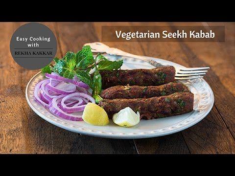 Vegetarian Seekh Kabab Recipe | Indian Starter Recipe | How to make Veg Seekh Kabab - YouTube