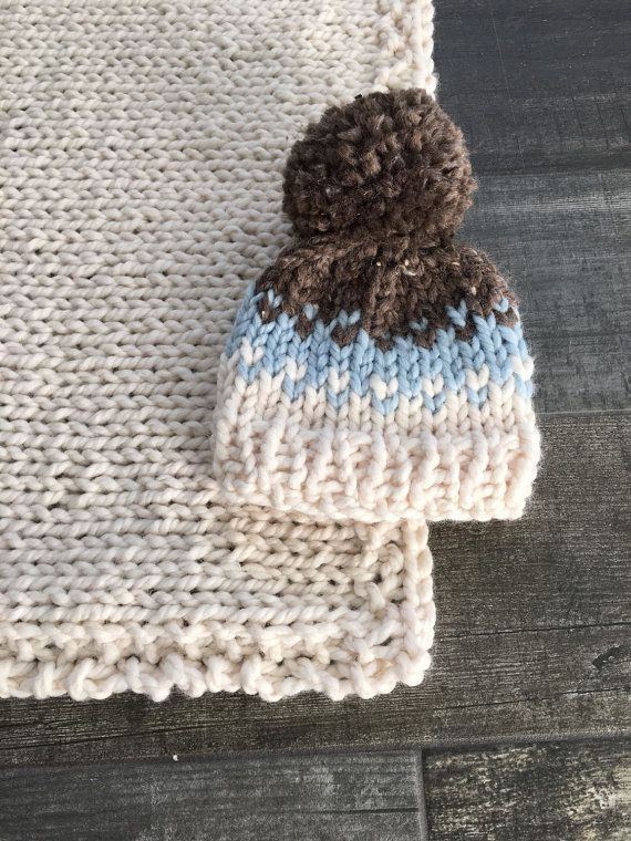 Fair Isle Baby Chunky Hat with Pom Pom in Glacier by grizzlie More