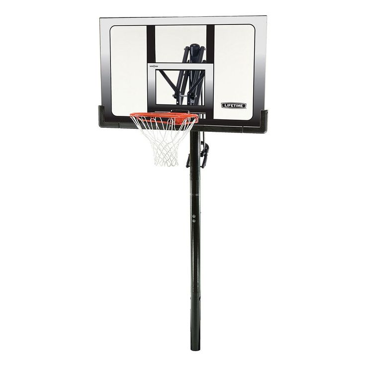 Lifetime 52-in. Shatterproof Power Lift In-Ground Basketball System, Black