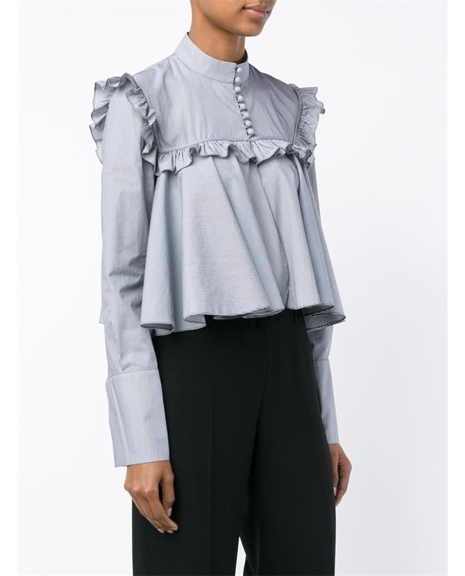 J.W.ANDERSON Stripe Ruffle Long Sleeve Blouse